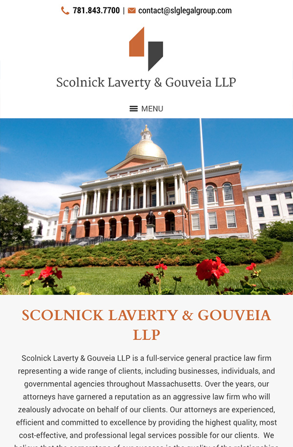 Mobile Friendly Law Firm Webiste for Scolnick Laverty & Gouveia LLP