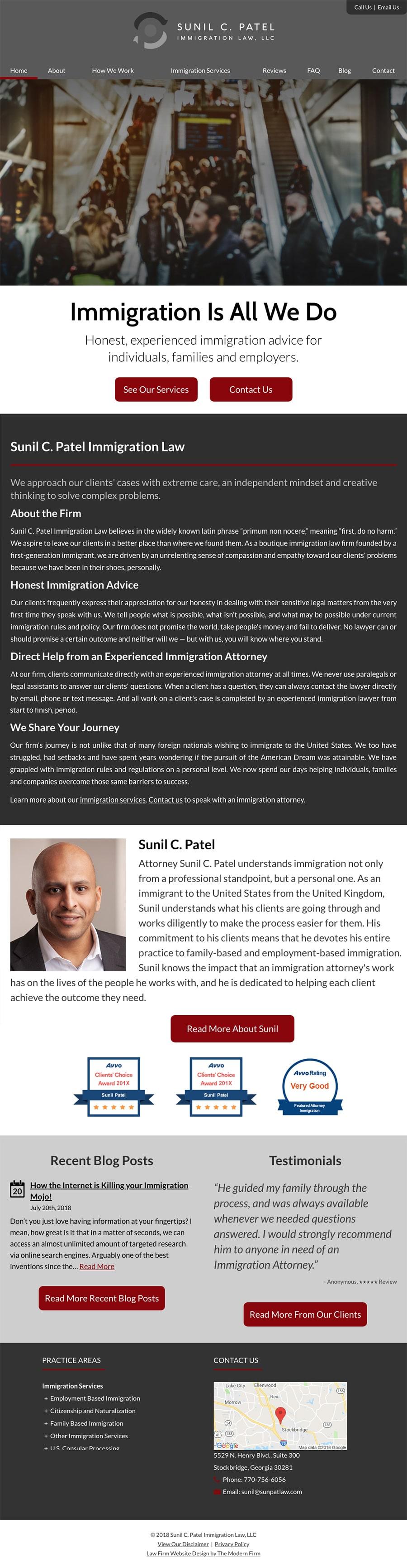 Law Firm Website Design for Sunil C. Patel Immigration Law, LLC
