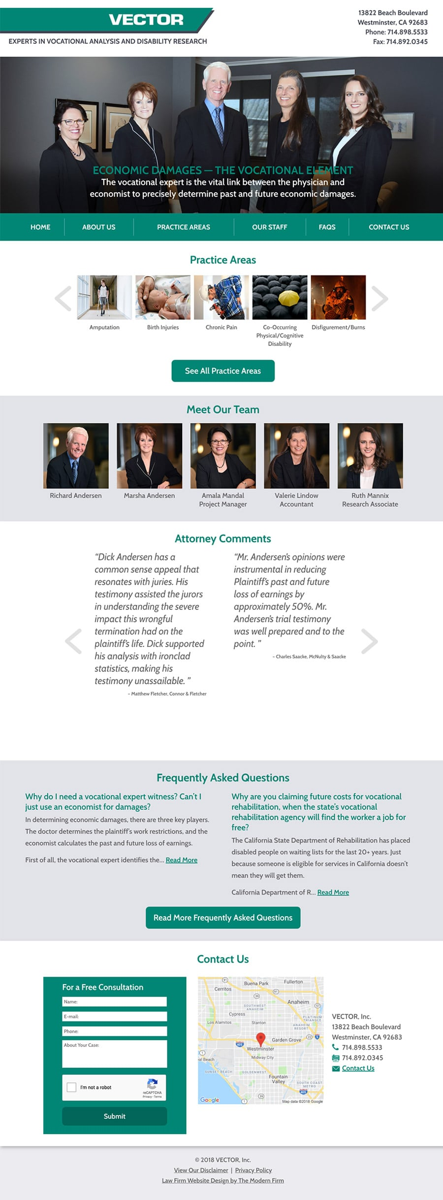 Law Firm Website Design for VECTOR, Inc.
