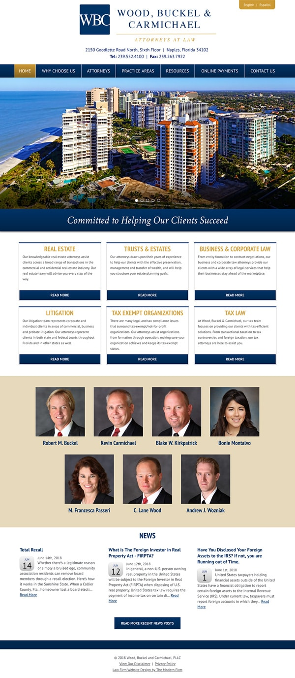 Law Firm Website Design for Wood, Buckel and Carmichael, PLLC