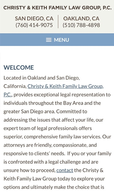 Responsive Mobile Attorney Website for Christy & Keith Family Law Group, P.C.