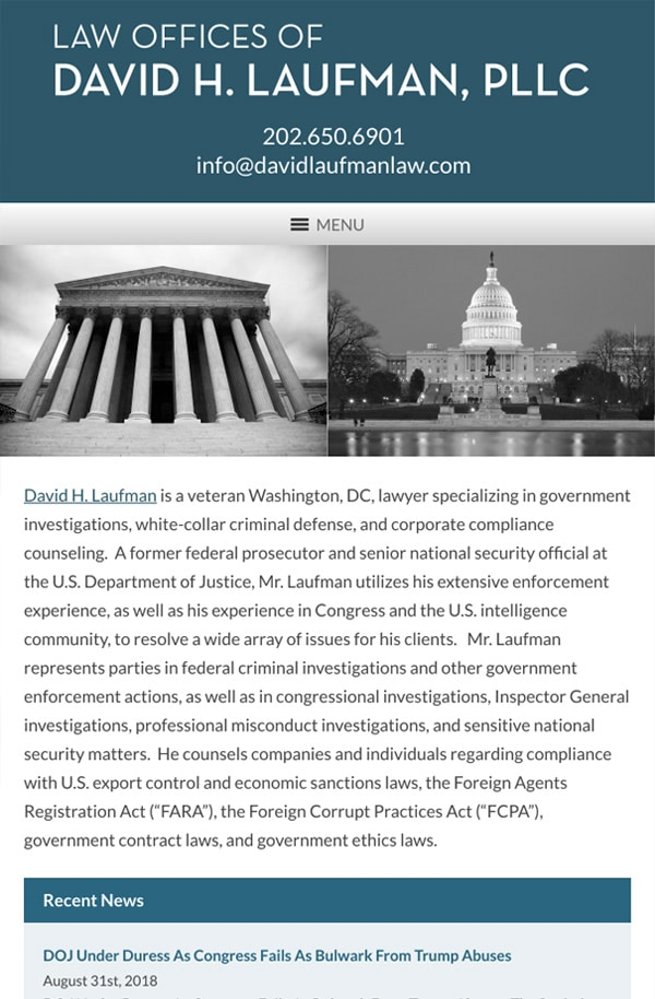 Mobile Friendly Law Firm Webiste for Law Offices of David H. Laufman, PLLC