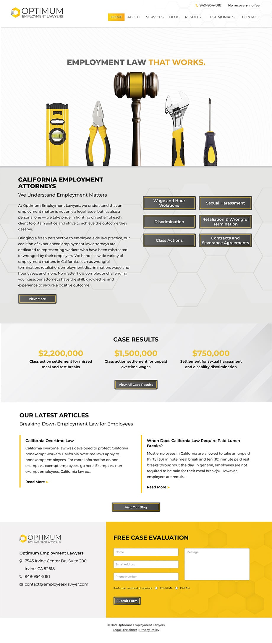 Law Firm Website Design for Optimum Employment Lawyers
