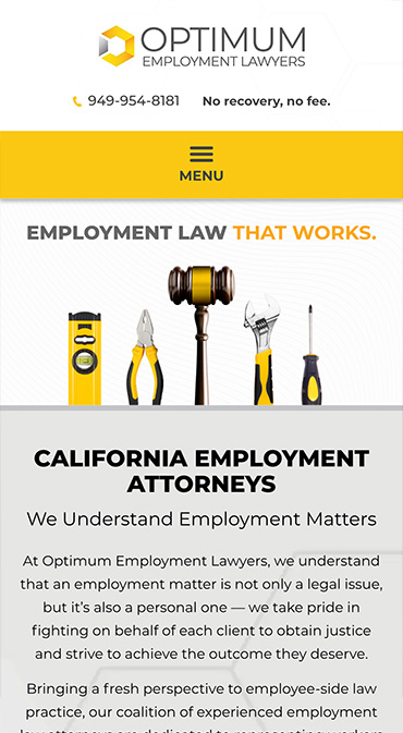 Responsive Mobile Attorney Website for Optimum Employment Lawyers