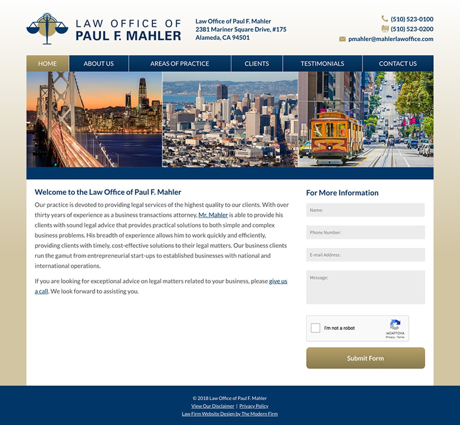 Law Firm Website Design for Law Office of Paul F. Mahler