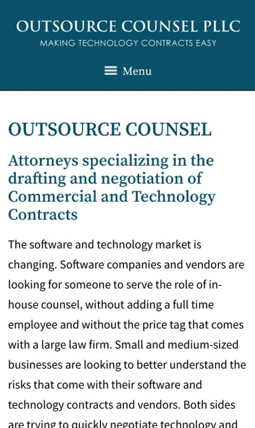 Responsive Mobile Attorney Website for Outsource Counsel PLLC