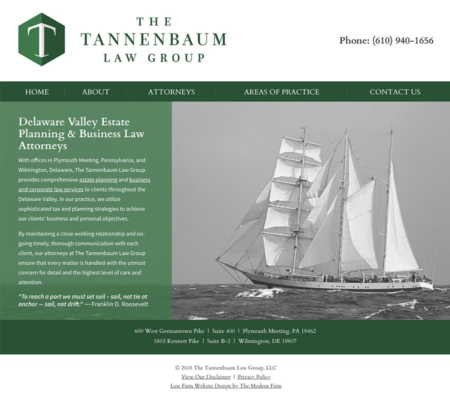Law Firm Website Design for The Tannenbaum Law Group, LLC