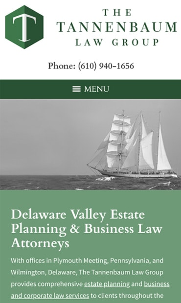Responsive Mobile Attorney Website for The Tannenbaum Law Group, LLC