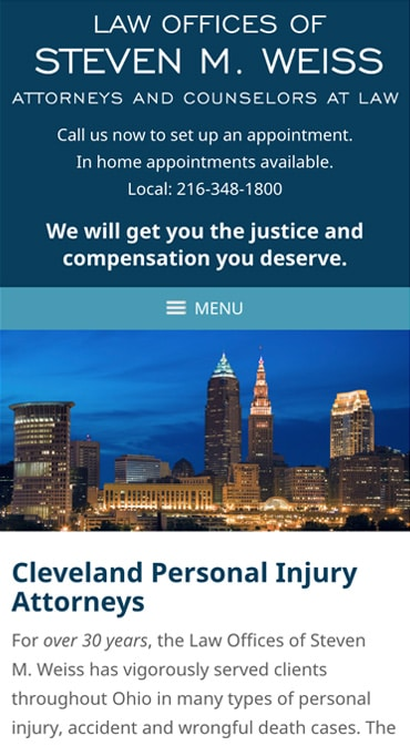 Responsive Mobile Attorney Website for Law Offices of Steven M. Weiss