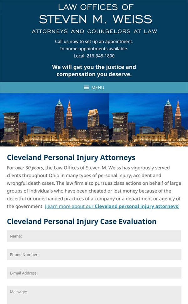 Mobile Friendly Law Firm Webiste for Law Offices of Steven M. Weiss