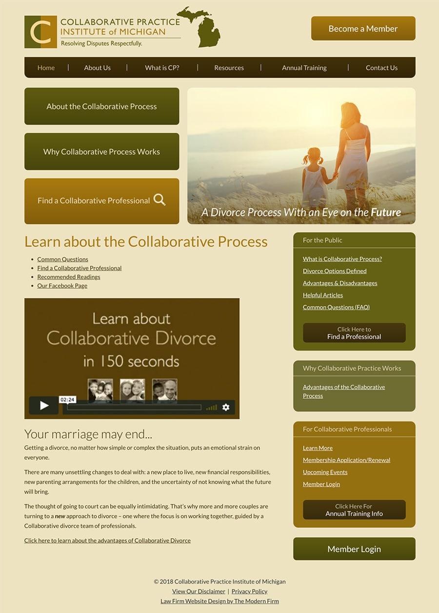 Law Firm Website Design for Collaborative Practice Institute of Michigan