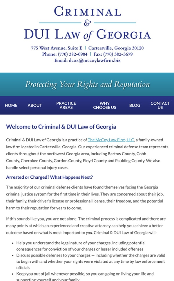 Mobile Friendly Law Firm Webiste for Criminal & DUI Law of Georgia