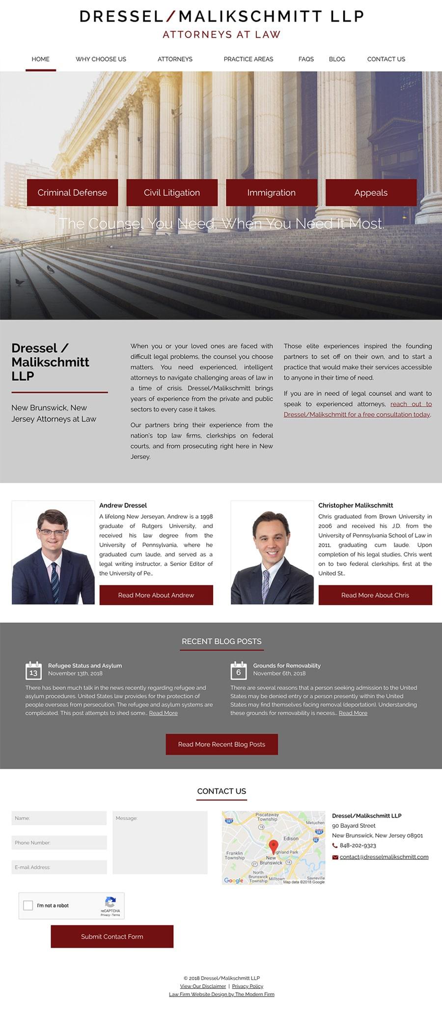 Law Firm Website Design for Dressel/Malikschmitt LLP