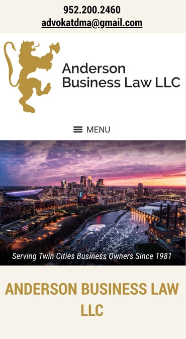 Responsive Mobile Attorney Website for Anderson Business Law LLC