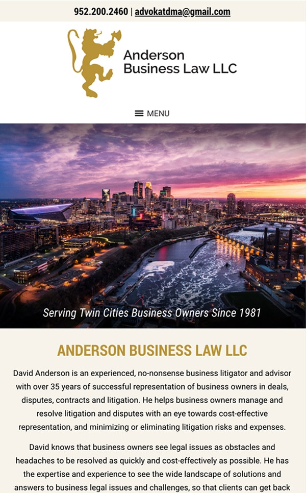 Mobile Friendly Law Firm Webiste for Anderson Business Law LLC