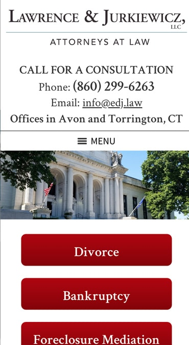 Responsive Mobile Attorney Website for Lawrence & Jurkiewicz, LLC