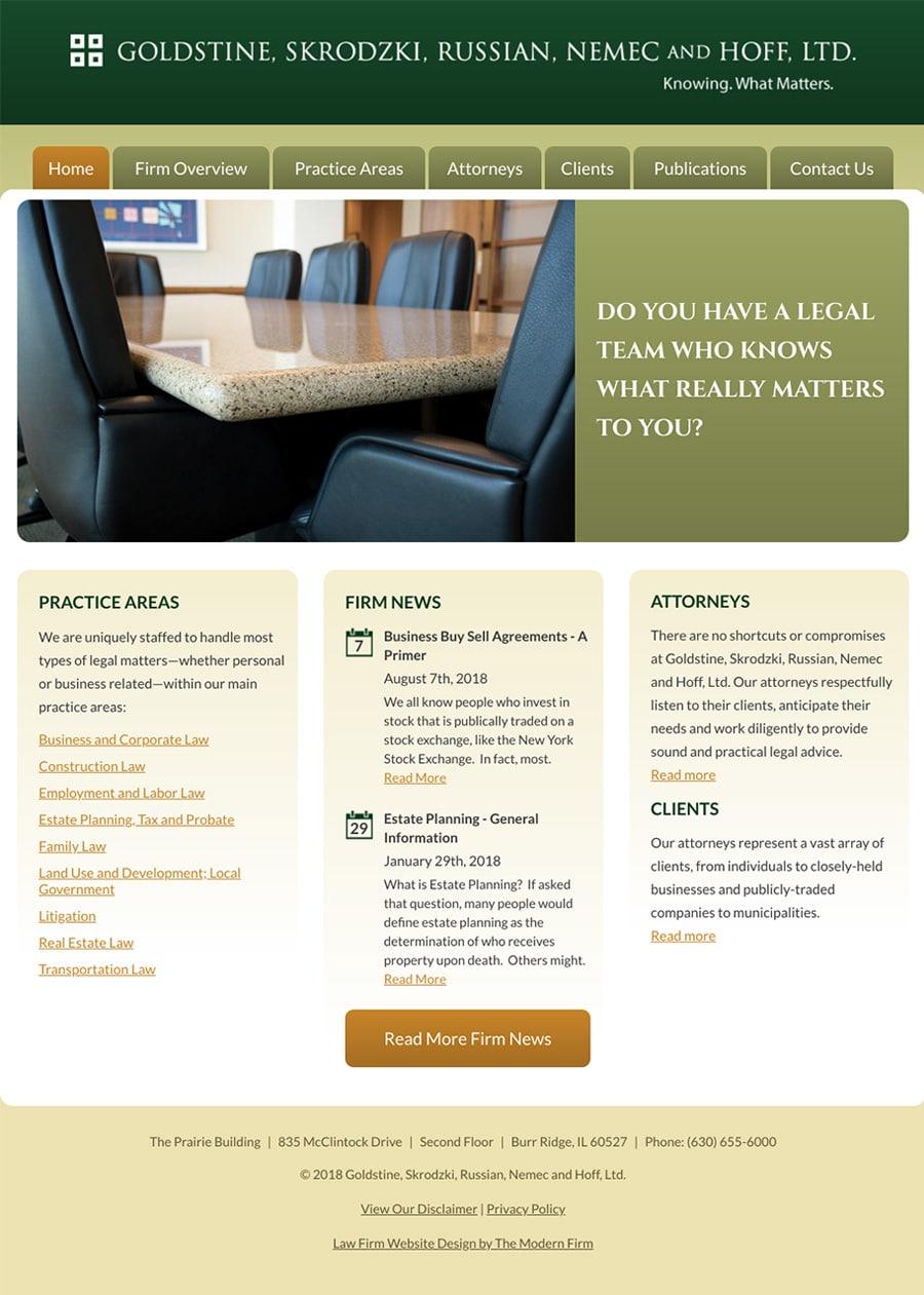 Law Firm Website Design for Goldstine, Skrodzki, Russian, Nemec and Hoff, Ltd.