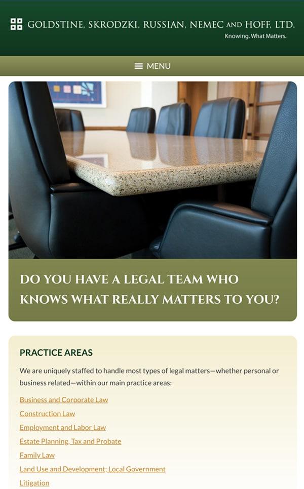 Mobile Friendly Law Firm Webiste for Goldstine, Skrodzki, Russian, Nemec and Hoff, Ltd.