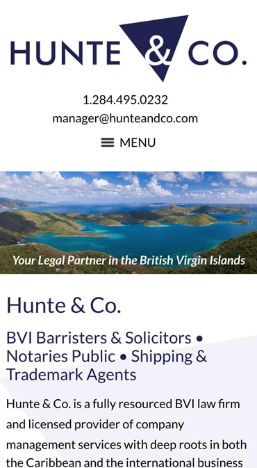 Responsive Mobile Attorney Website for Hunte & Co.
