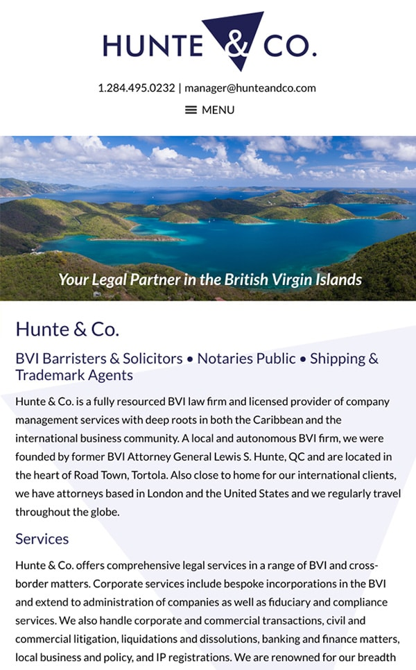 Mobile Friendly Law Firm Webiste for Hunte & Co.
