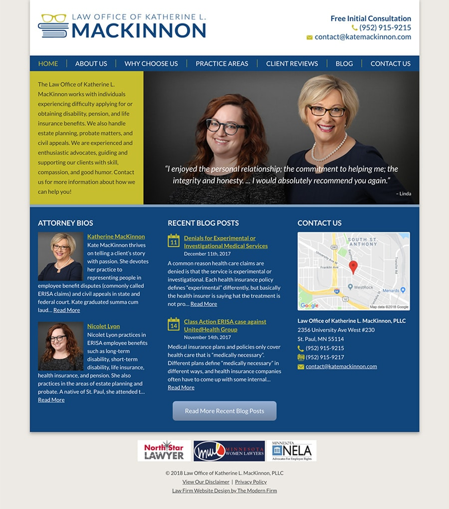 Law Firm Website for Law Office of Katherine L. MacKinnon, PLLC
