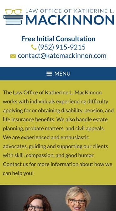 Responsive Mobile Attorney Website for Law Office of Katherine L. MacKinnon, PLLC