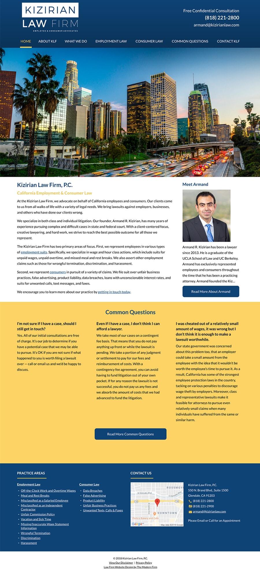 Law Firm Website Design for Kizirian Law Firm, P.C.