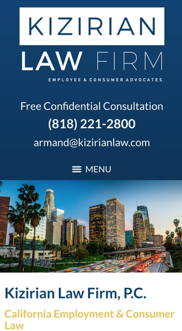 Responsive Mobile Attorney Website for Kizirian Law Firm, P.C.