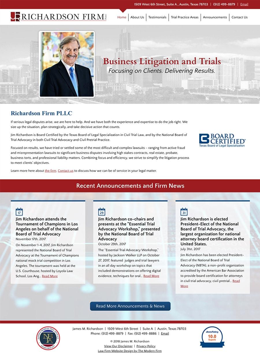 Law Firm Website Design for James M. Richardson
