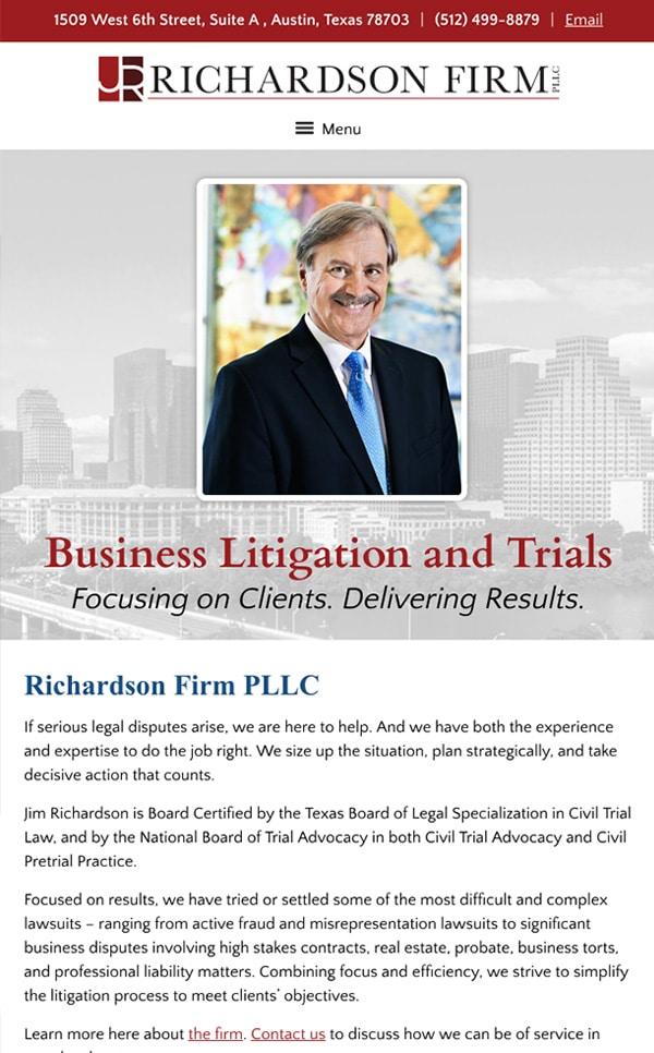 Mobile Friendly Law Firm Webiste for James M. Richardson