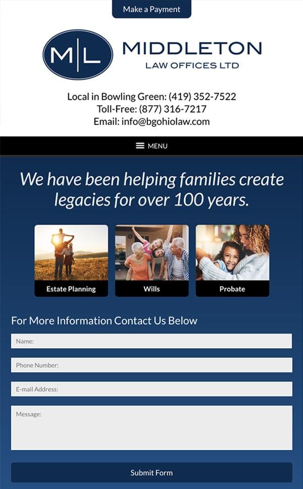 Mobile Friendly Law Firm Webiste for Middleton Law Offices, Ltd.