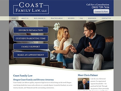 Law Firm Website design for Coast Family Law, LLC