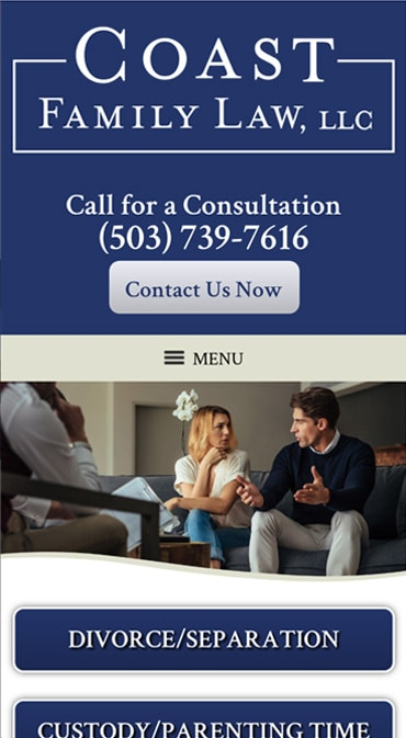 Responsive Mobile Attorney Website for Coast Family Law, LLC