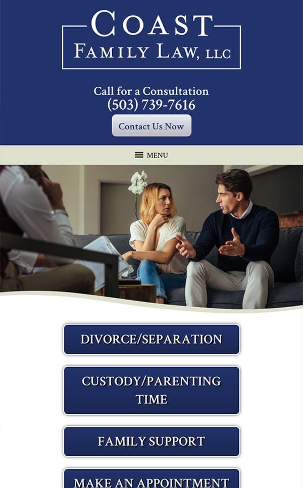 Mobile Friendly Law Firm Webiste for Coast Family Law, LLC