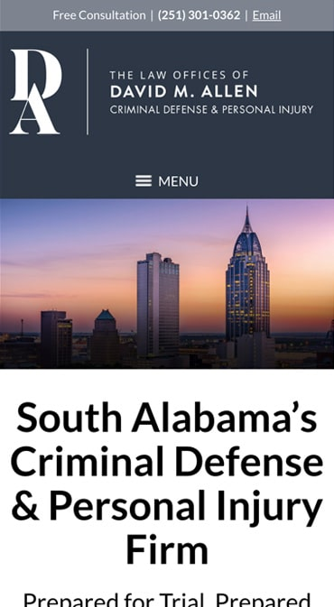 Responsive Mobile Attorney Website for The Law Offices of David M. Allen