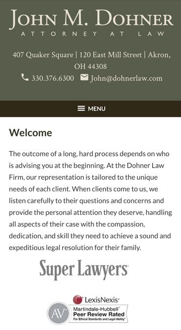 Responsive Mobile Attorney Website for John M. Dohner