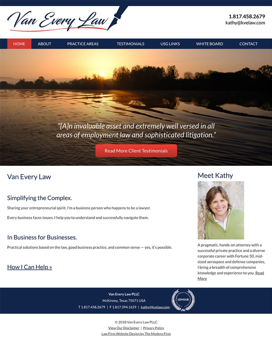 Law Firm Website Design for Van Every Law PLLC