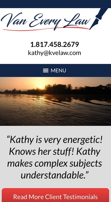 Responsive Mobile Attorney Website for Van Every Law PLLC