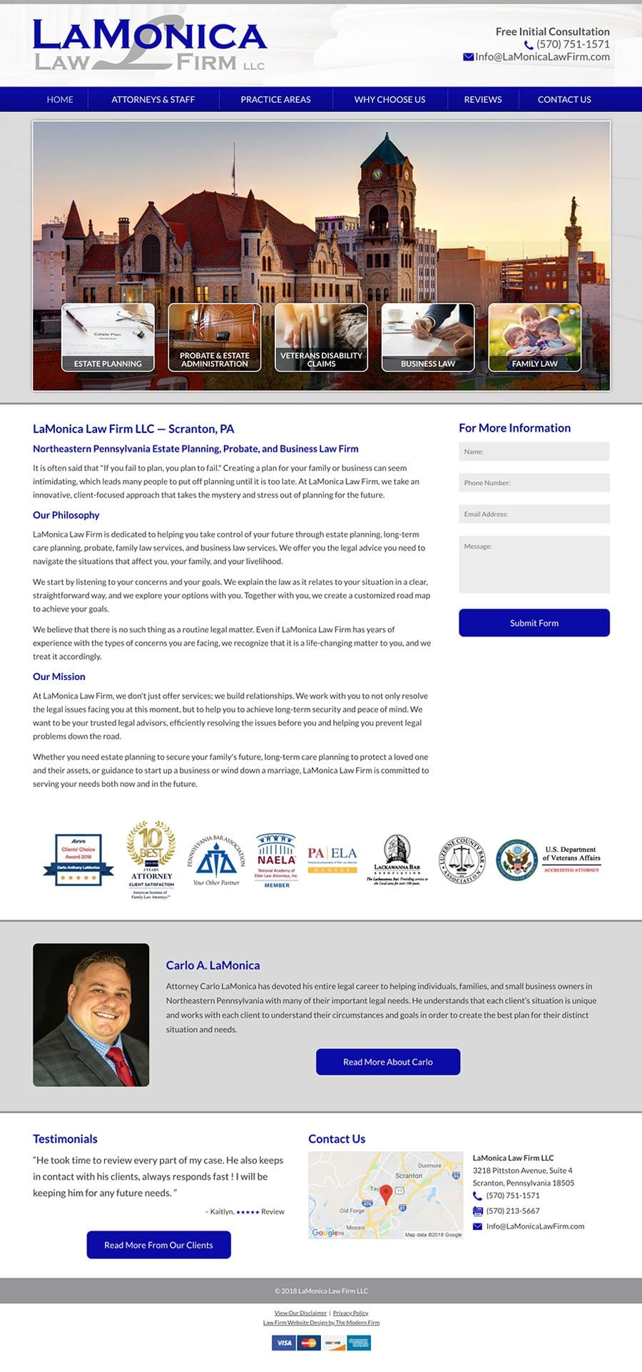 Law Firm Website Design for LaMonica Law Firm LLC