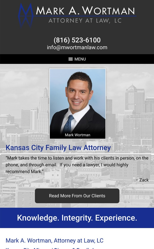 Mobile Friendly Law Firm Webiste for Mark A. Wortman, Attorney at Law, LC