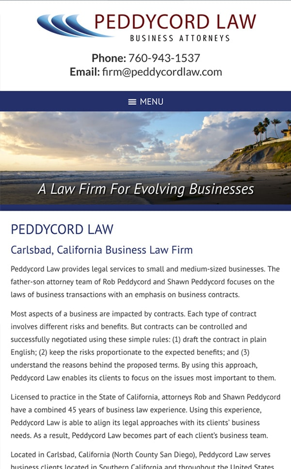 Mobile Friendly Law Firm Webiste for Peddycord Law