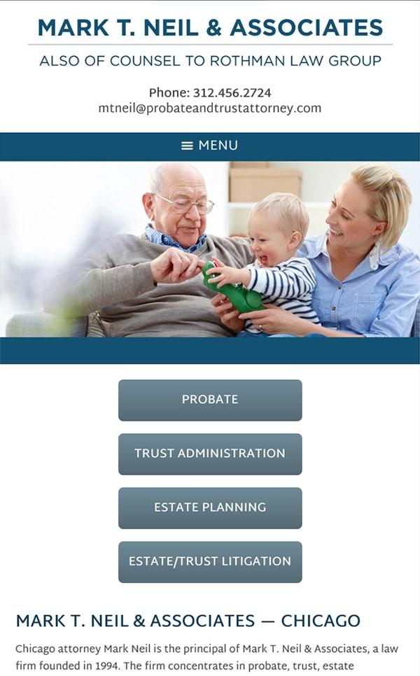 Mobile Friendly Law Firm Webiste for Mark T. Neil & Associates