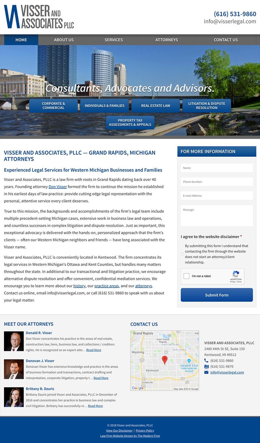 Law Firm Website Design for Visser and Associates, PLLC