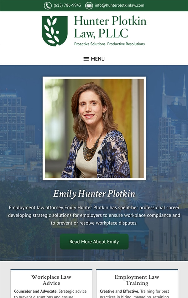 Mobile Friendly Law Firm Webiste for Hunter Plotkin Law, PLLC
