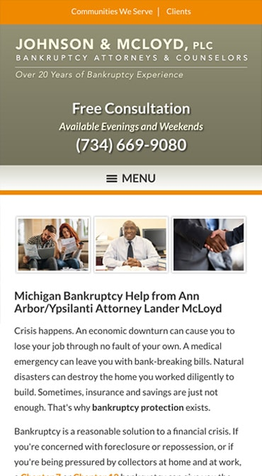 Responsive Mobile Attorney Website for Johnson & McLoyd, PLC