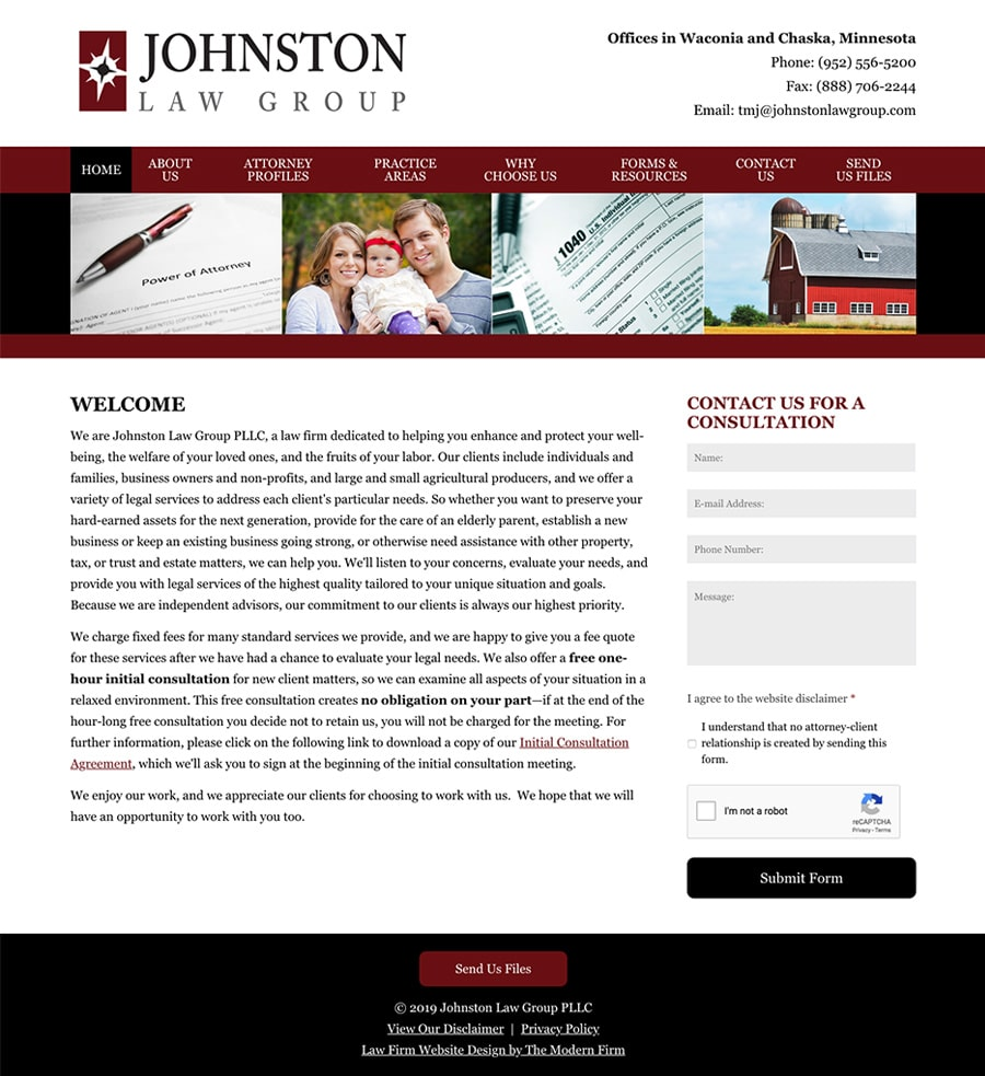 Law Firm Website Design for Johnston Law Group, PLLC