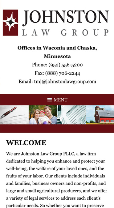Responsive Mobile Attorney Website for Johnston Law Group, PLLC