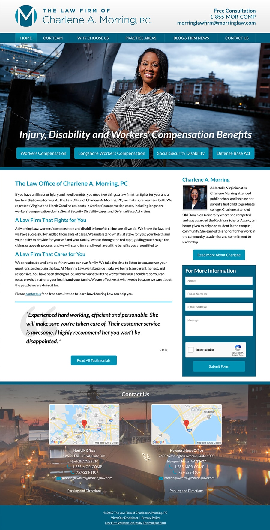 Law Firm Website Design for The Law Firm of Charlene A. Morring, PC
