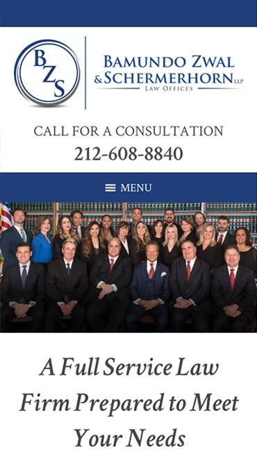 Responsive Mobile Attorney Website for Bamundo Zwal & Schermerhorn LLP