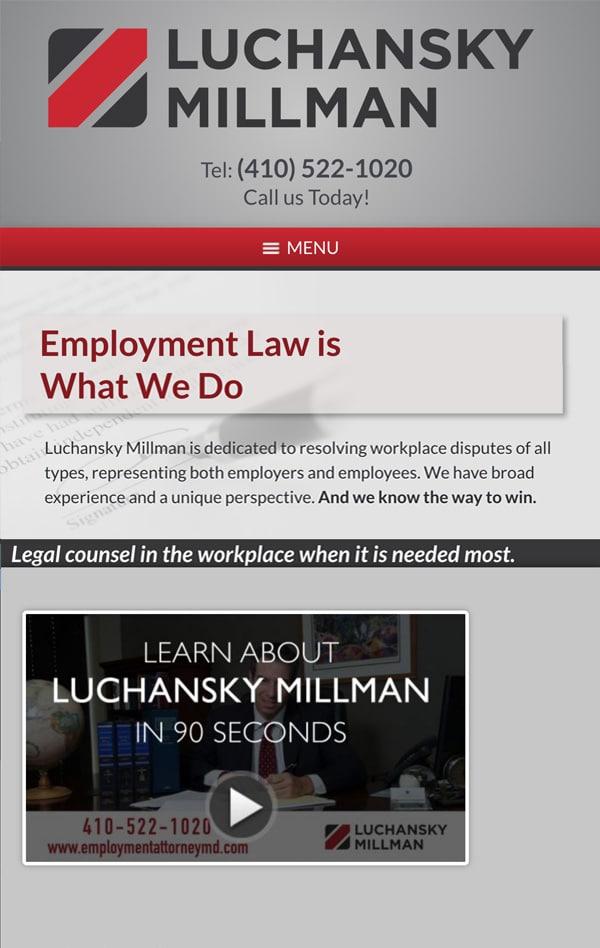 Mobile Friendly Law Firm Webiste for Luchansky Millman
